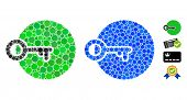 Login Mosaic Of Round Dots In Different Sizes And Shades, Based On Login Icon. Vector Round Dots Are poster