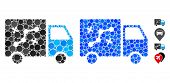 Route Van Composition Of Round Dots In Different Sizes And Shades, Based On Route Van Icon. Vector R poster