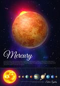Mercury Planet Colorful Poster With Solar System. Galaxy Discovery And Exploration. Realistic Planet poster