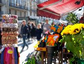 Barcelona Ramblas street life from flowers market