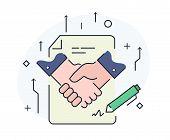 Businessmen Shaking Hands. Cooperation Interaction. Illustration Eps 10 File. Success Cooperation. L poster
