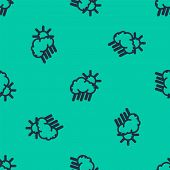 Blue Line Cloud With Rain And Sun Icon Isolated Seamless Pattern On Green Background. Rain Cloud Pre poster