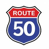 50 Route Sign Icon. Vector Road 50 Highway Interstate American Freeway Us California Route Symbol poster