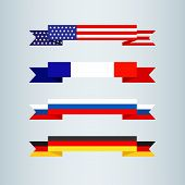 Flag Ribbon Of America Usa France Germany Russia Set Collection Of Bright Flat Banner Ribbons Icon R poster