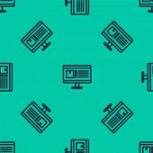 Blue Line Computer Monitor With App Delivery Tracking Icon Isolated Seamless Pattern On Green Backgr poster