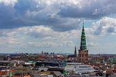 Copenhagen Skyline. Denmark Capital City Streets And Danish House Roofs. Copenhagen Old Town And Cop poster