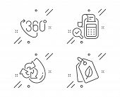 Bill Accounting, 360 Degree And Recycle Water Line Icons Set. Bio Tags Sign. Audit Report, Virtual R poster