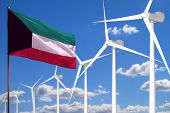 Kuwait Alternative Energy, Wind Energy Industrial Concept With Windmills And Flag - Alternative Rene poster