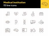 Medical Icons. Set Of Line Icons. Human Ear, Human Brain, Human Eye. Healing Concept. Vector Illustr poster
