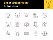 Set Of Virtual Reality Line Icons. Dusb, Planet And Gamepad, 3d Man. Virtual Reality Concept. Vector poster