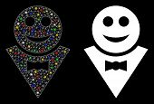 Bright Mesh Happy Waiter Icon With Glitter Effect. Abstract Illuminated Model Of Happy Waiter. Shiny poster