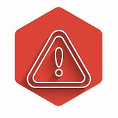 White Line Exclamation Mark In Triangle Icon Isolated With Long Shadow. Hazard Warning Sign, Careful poster