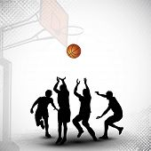 Silhouettes of a basketball players playing basket ball match on abstract grungy basketball court ba