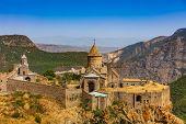Tatev monastery panorama landscape mountains landmark of Syunik province Armenia eastern Europe poster