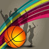 Silhouette of a basketball player and basketball on grungy colorful wave background with happy audience silhouette. EPS 10.