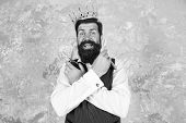 Oh My Gosh. Barber With Surprised Bearded Face. Bearded Big Boss Wear Crown. Bearded Man Hold Scisso poster