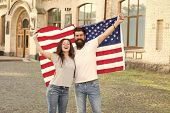 Students Exchange Program. National Holiday. Hipster And Girl Celebrate 4th Of July. American Patrio poster