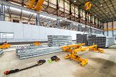 Overhead Crane Beam Hoist Concrete Slab On A Plant For The Production Of Hollow Floor Slabs And New  poster