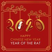 2020 Colorful Vector Text Isolated On Red Background, Chinese New Year 2020, 2020 Text For Chinese C poster