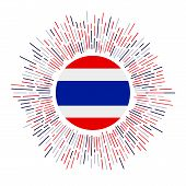 Thailand Sign. Country Flag With Colorful Rays. Radiant Sunburst With Thailand Flag. Vector Illustra poster