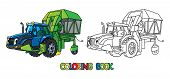 Cotton Harvester Or Combine With Eyes Coloring Book poster