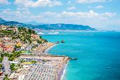 Vietri Sul Mare Picturesque View From Above To Beaches With Umbrellas, Rocks Due Fratelli, Blue Sea  poster