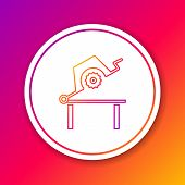 Color Line Table Saw For Woodwork Icon Isolated On Color Background. Power Saw Bench. Circle White B poster
