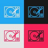 Color Line Vinyl Player With A Vinyl Disk Icon Isolated On Color Background. Vintage Style Drawing.  poster