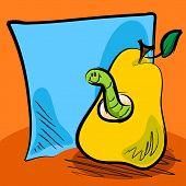 Постер, плакат: Мультфильм шероховатый червь внутри груша с записки