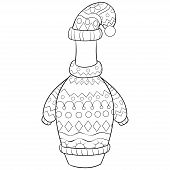 Christmas Bottle Wearing A Cap,scarf And Pullover With Ornaments Illustration For Adults.adult Color poster