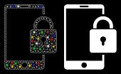 Flare Mesh Lock Smartphone Icon With Glitter Effect. Abstract Illuminated Model Of Lock Smartphone.  poster