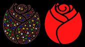 Glowing Mesh Rose Button Icon With Glitter Effect. Abstract Illuminated Model Of Rose Button. Shiny  poster