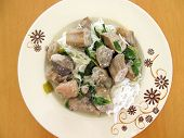 Green Curry With Raw Banana And Chicken Eat With Rice Noodles