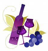 Bottle, Wineglassses And Grape