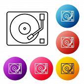 Black Line Vinyl Player With A Vinyl Disk Icon Isolated On White Background. Set Icons Colorful Circ poster