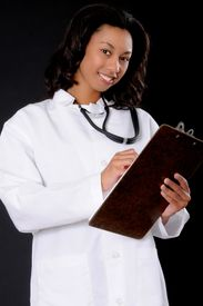 foto of medical assistant  - Lovely young and beautiful African American Doctor or Nurse - JPG