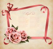 picture of rose  - Retro holiday background with pink roses and ribbons - JPG