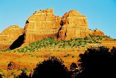 stock photo of peyote  - Study of 2 huge red rock cliffs in Sedona Arizona - JPG