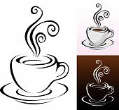 stock photo of hot coffee  - coffee cups icons in different colours  - JPG