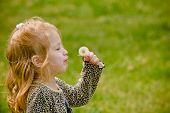 Junges Mädchen versucht Schlag Löwenzahn-Samen
