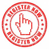 Register now vector stamp