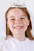 Young girl's First Communion Closeup