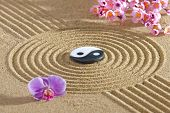 picture of yin  - Japan zen garden of meditation with stone and structure in sand - JPG