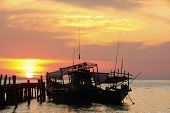 Silhouette Of Traditional Fishing Boats At Sunrise, Koh Rong Island, Cambodia