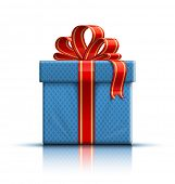 Blue gift box with a red ribbon and a bow. Vector illustration