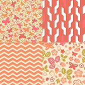 Flowers strawberry and butterflies seamless patterns collection in pink, vector