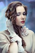 image of irresistible  - Portrait of young glamourous woman on sparkling background in old Hollywood style - JPG