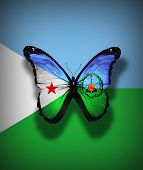 Djibouti Flag Butterfly With Coat Of Arms, Isolated On Flag Background