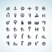 stock photo of hierarchy  - Set of different vector business concept icons - JPG