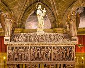Crpyt St Eulalia 4Th Century Marytr Gothic Catholic Barcelona Cathedral Basilica Catalonia Spain